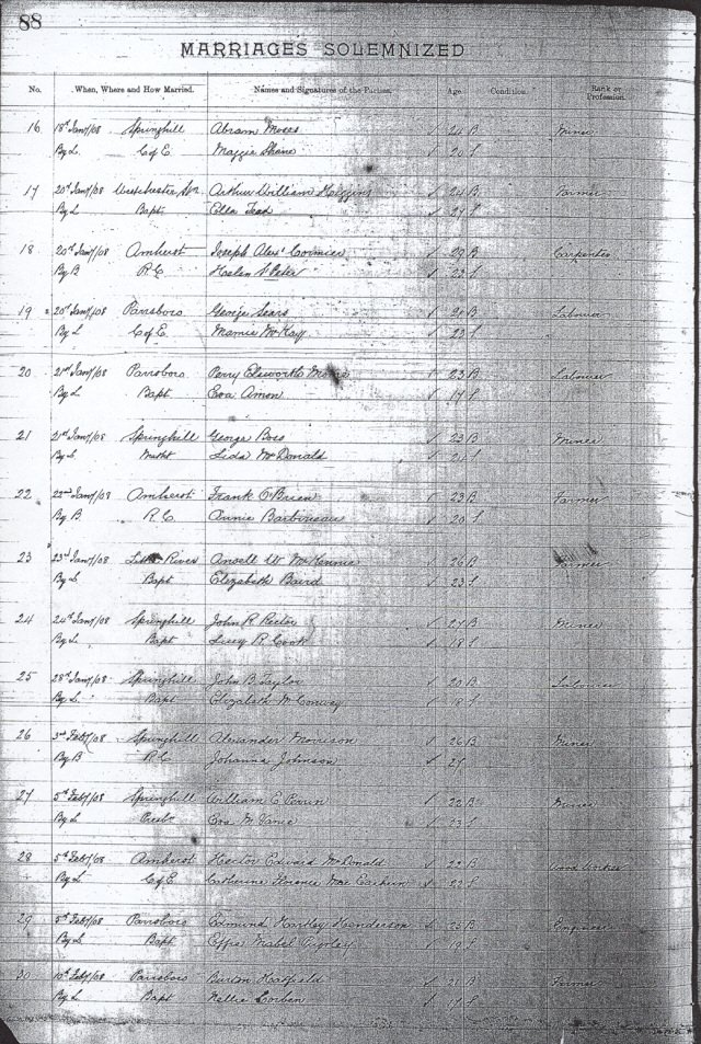 Cumberland County Marriage Records