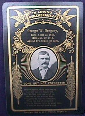 Death Record on the Memorial Card of George W Gregory