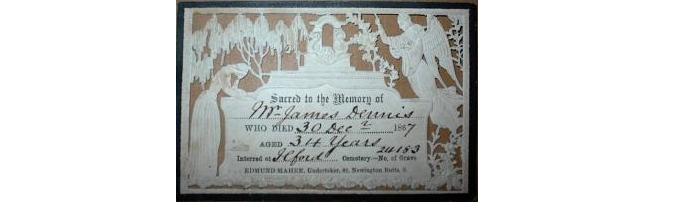 Death Record on the Memorial Card of James Dennis