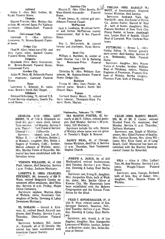 Death Records From Kansas Newspapers.